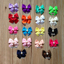 30pcs/pack Kids Girls Grosgrain Ribbon Hair Bow with Clip Pearl Center,Mint Green Brown Ivory White Pink Red Peach etc.