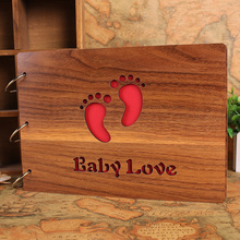 Baby Grows Photo Album Quality Wood Handmade Wedding Photo Album Black Card Personalized DIY Photo Albums 10 Pages