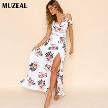 MUZEAL Summer Sexy Girls High Slit Long Dress Slip V Neck Ruffle Off  Shoulder Floral Beach Party Club Woman Maxi Floor Dress 47 830a99009f96