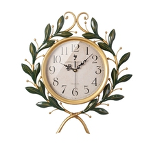 High Quality Geekcook American Pastoral Creative Art Family Hanging Clock Living Room Bedroom  Silent Clock Retro Furnishings Iron Wall Clock