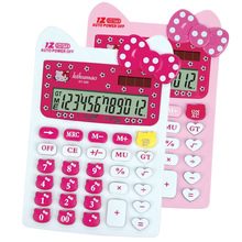 Cute Pink Hello Kitty Desktop Solar Dual Power Pink Calculator 12 Digital Solar Kawaii Calculator for Office Students Girls Gift(China)