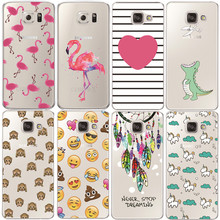Flamingo Case For Samsung Galaxy S4 S5 S6 S7 Edge S8 Plus A3 A5 2016 2015 2017 J1 J2 J3 J5 J7 Transparent Silicone Fundas(China)