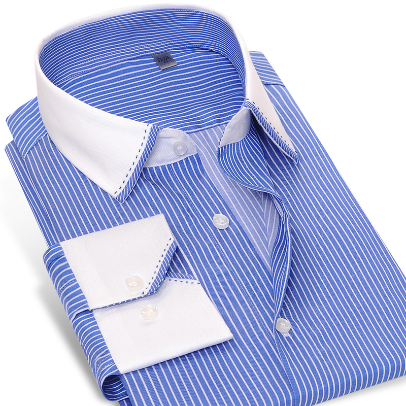 Online buy wholesale blue striped shirt white collar from Best wrinkle free dress shirts