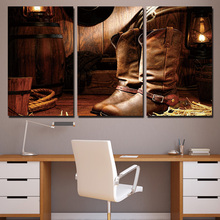 3 Panels Canvas Art High Brown Boots Home Decoration Wall Art Painting Canvas Prints Pictures for Living Room Poster XA-1024C(China)