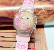 10 Pieces/Lot High Quality Factory Price Barbee Water Ball Style Cartoon Children Watches For Girls With Flashing Light Calendar