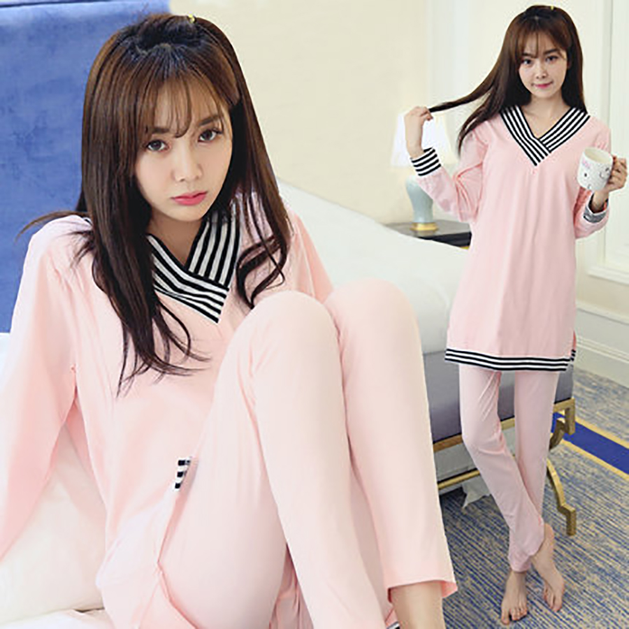Korean Maternity Clothes Nursing Winter Top Pregnant Pajamas Long Pregnant Warm Cotton Luxury Maternity  Pregnancy 60M0075<br>