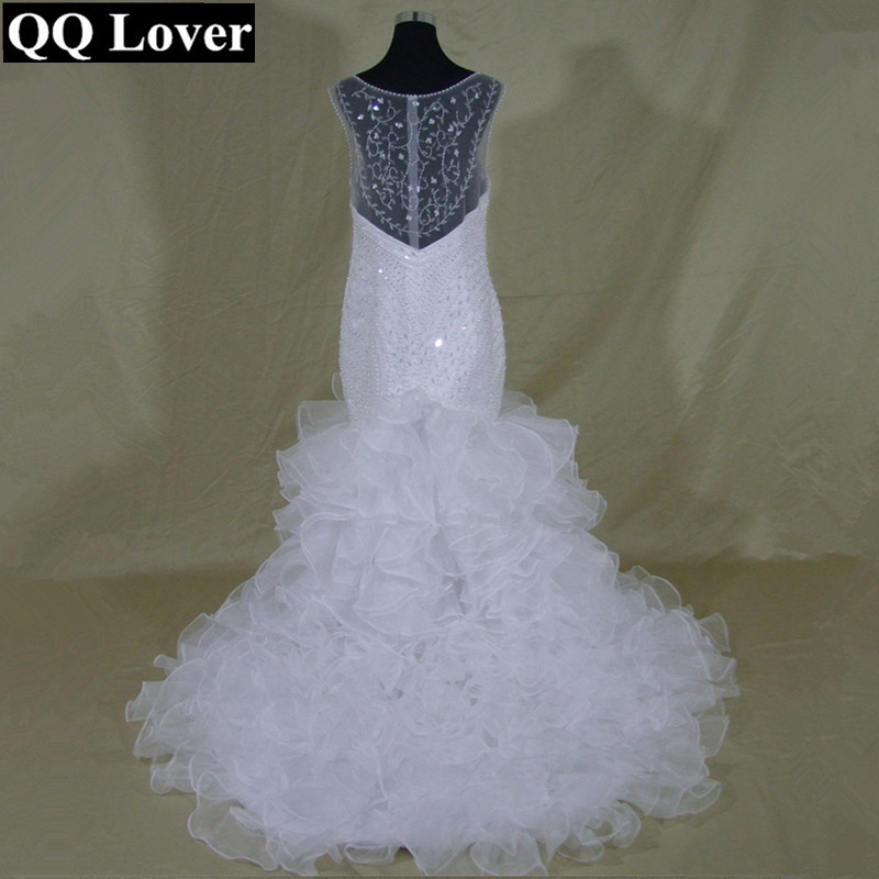 QQ Lover Sexy African Sweetheart Mermaid Wedding Dress Court Train Sheer Back Applique Beaded Bridal Gown Vestido De Novia