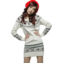 Spring Autumn new pullover Korean version Christmas snowflake pattern deer thick sweater long Slim sweater Women vestidos LXJ073(China)