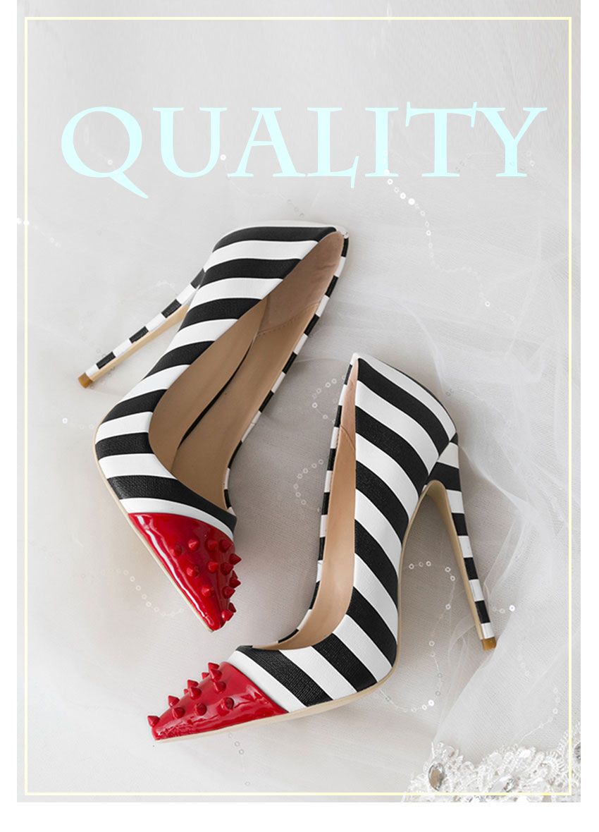 WETKISS Studded High Heels 12cm Stilettos Women Pointed Toe Rivet Ladies Party Pumps Zebra Shallow Colorful Shoes Woman 34-45 1