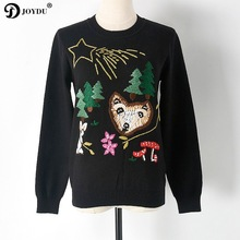 JOYDU 2017 Winter Christmas Tree Sweater Women Pullover Runway Character Fox Trees Embroidery Knit Tops Oversized Sweater Jumper(China)