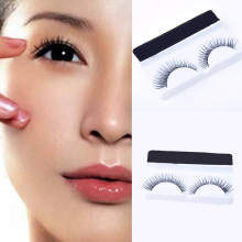 1 Pair Pure Handmade Synthetic Hair Makeup Fake Eyelashes Natural Long Transparent Stem False Eyelash Black Cosmetic Tips