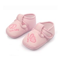 First Walkers Footwear Hot Sale Newborn Infant Solid Striped Baby Shoes Cotton Fabric Embroidered Double Heart Lovely Hook&Loop