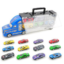 12pcs/set Kids Model Toy Car Kits Gift Box Packing Plastic Big Container Truck with Small Alloy Cars Random Color