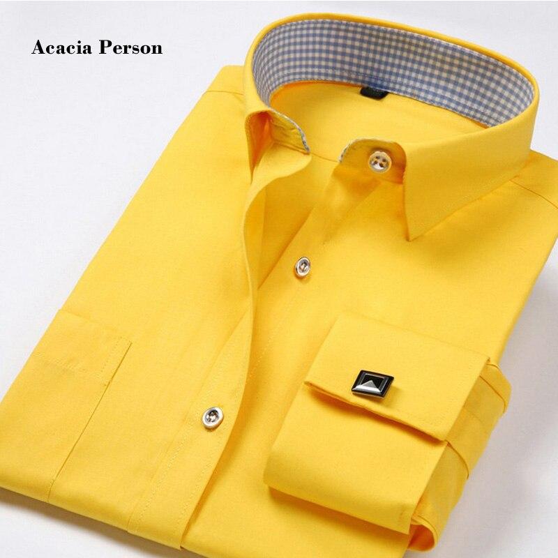 Brand High Quality New 2017 Fashion french cufflinks shirts men dress shirt Slim Fit Long Sleeve Cotton 4XL 10 Color