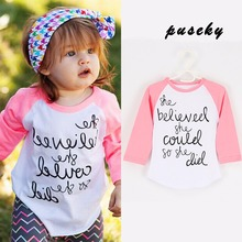 Baby Girls T Shirts 2017 Spring Letter Print Baby Girl Clothes Toddler Long Sleeve T-shirts For Kids Cotton  Clothing Costume