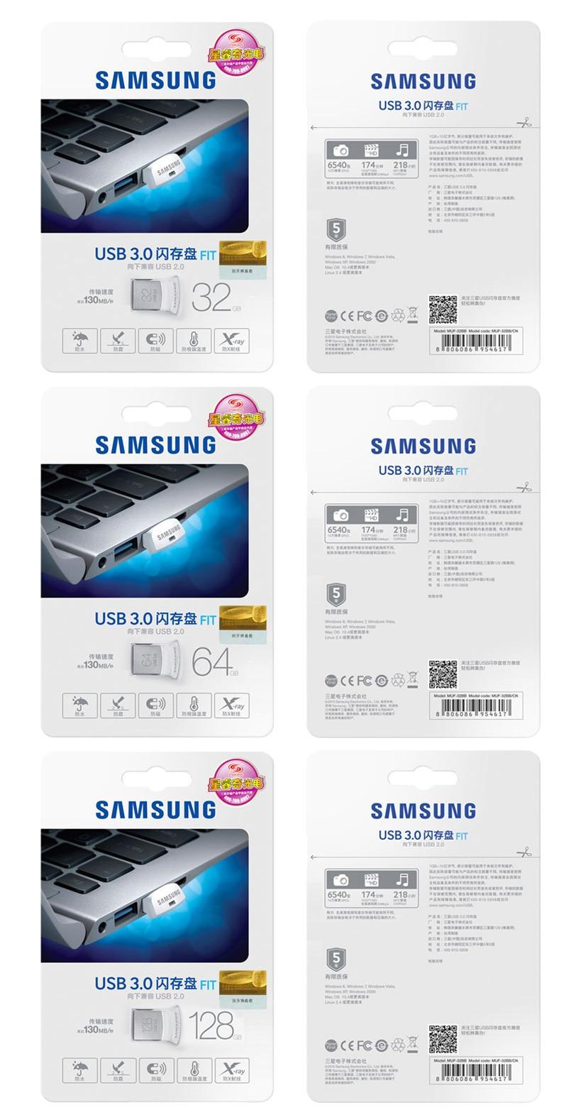 130MB/S USB 3.0 SAMSUNG USB Flash Drive Disk 32GB 64GB 128GB Mini Pen Drive Tiny Pendrive Memory Stick Storage Device U Disk