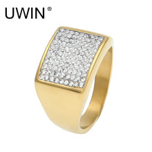 UWIN New Men's Stainless Steel Ring Bling Bling CZ Rhinestone Crystal Gold Color Punk Rings Fashion Hip Hop Jewelry Size 7-12