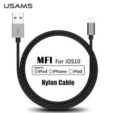 For MFi iPhone Cable USAMS Mental 2.1A Fast Charge MFI For Lightning to USB Cable for iPhone 5 iphone 7 iphone 5c Cable light