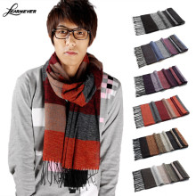 Winter Hot Head Crochet Scarves Cashmere Pashmina Scarf Wrap Cotton Knitted Stripe Men Man Scarves Purple Neck Cover D01837