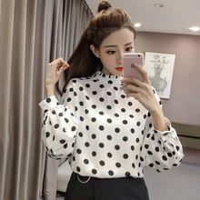 Missoov hipster brand autumn style blouses fashion women tops Long sleeves polka dot shirts turtleneck blusa vetement femme new