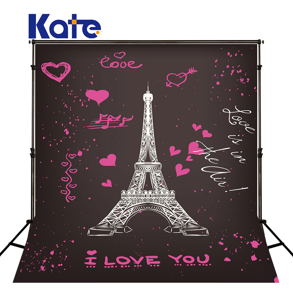 KATE 5x7ft Children Photography Backdrops Cartoon Eiffel Tower Backdrop Valentines Day Kids Backdrops for Newborn Photo Shooting<br>