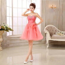 mini coral colored tulle sweetheart strapless beading girls dress rhinestone sexy puffy dresses for sweet 16 ball gown W2835