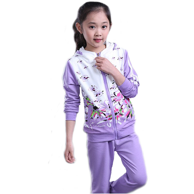 New Brand Arrivals Girls Floral Clothing Set Spring 2017 Cotton Sport Style 2 Pieces Clothes Suit Fashion Casual Kids Tracksuit<br><br>Aliexpress