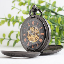 Luxury Steampunk Tungsten Steel Mechanical Pocket Watch Male Double Open Cover Hollow Classic Retro Table Gifts 3JX006