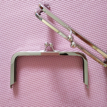 6 x 3 inches (15 x 7.5 cm) - Silver Clutch Purse Frames/Handles  Metal Nickel purse frames with Standard Ball