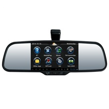 HD 5 Inch Capacitive Touch Android Car Navigator GPS Navigation 1080P DVR Rear view Mirror With Reversing Camera free map