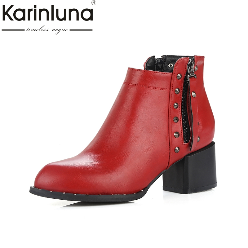 KARINLUNA 2017 large sizes 34-43 add plush ankle boots women shoes fashion rivets zip up square heels winter shoes woman boots<br>