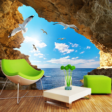 Custom Photo Wallpaper Murals 3D Blue Sky White Clouds Seagulls Cave Landscape Mural Wall Home Interior Decoration Wall Paper(China)