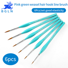 BGLN 6Pcs Weasel Hair Hook Line Fine Paint Brush Set Artist Gouche Watercolor Acrylic Oil Painting Brush Artist Supplies(China)