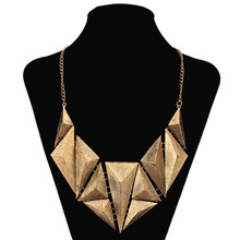 2017 Hot Triangular shaped retro personality pendant carved magazine Style necklace women fashion jewelry accessories NK0387