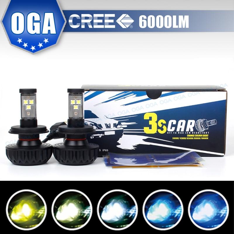 OGA 2PCS H4 HB2 9003 Cree LED chips kit Car Fog Bulb White Automobiles Lamps Conversion Kit Auto 3000K/4300K/6500/8000K/10000K<br><br>Aliexpress