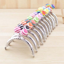 k240 stripe lollipop Candy bead Purse frame 8.5CM bright and clean semicircle Silver lace Metal-opening Bags Kiss Clasp(China)