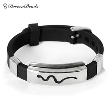 Men Jewelry Stainless Steel Silicone Rubber Slippy Strip Bracelets Bangle dull silver color Black carved 22.7cm,1 Piece