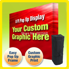 2 units Freeshipping!8ft FABRIC VELCRO POP UP DISPLAY + Custom Graphic PRINT
