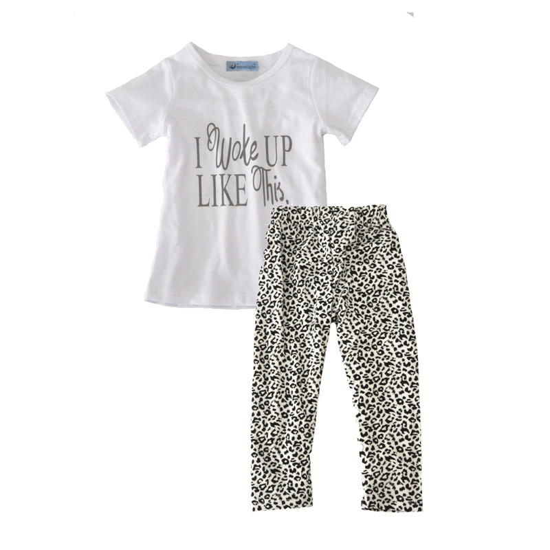 fall toddler girl clothing sets fashion letter i work up like this t shirt+leopard pants 2016 autumn brand girls clothing set<br><br>Aliexpress