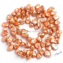 "Free Shipping AAA 5-7mm Orange Color Natural Freshwater Pearl Irregular Shape Loose Beads Strand 15"" Jewelry Making w1621(China)"