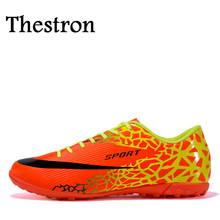 Thestron 2016 Sneakers Men Soccer Black/Orange Football Turf Cleats Skid-Resistance Mens Football Trainers Shoes
