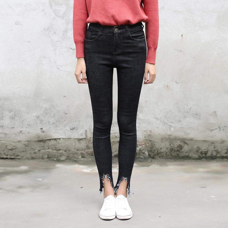 Ankle Length Vintage Dark-blue Black Jeans for Women Tassels Leg Opening Winter High Waist Slim Skinny Pencil PantsОдежда и ак�е��уары<br><br><br>Aliexpress