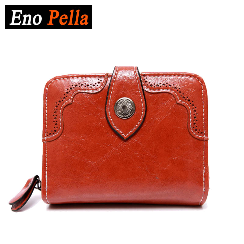 EnoPella Female Leather Money Wallets Oil Wax Leather Men Short Bifold Wallet Wallets Purse Coin Pocket Male Zipper(China (Mainland))