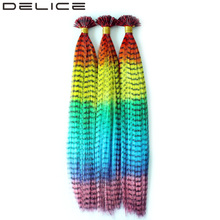 [DELICE] 100strands/lot Women's Multicolor Rainbow Ombre Straight Grizzly Rosster Synthetic Hair Extensions With Beads Free