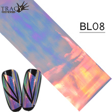 100*4cm Nail Art Transfer Foil Polish Wraps Nail Adhesive Glue Color Gradient Glitter Laser DIY Sticker BL08(China)