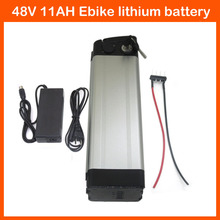 500W silver fish 48V 11AH Ebike Lithium battery 48V Electric Scooter 18650 battery packs with 54.6V 2A charger Bottom Discharge