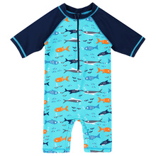 2016 Summer New Design Kids Cartoon Sharks Rash Guards Sun Protection (UPF50+) Acrylic One Piece Swimsuit Beach Surfing Clothes