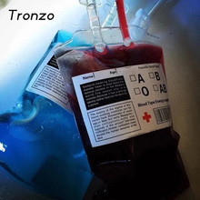 Tronzo 400ML Halloween Clear Food Grade PVC Reusable Vampire Blood Bag Energy Drink Bag Halloween Decoration Prop Party Supplies