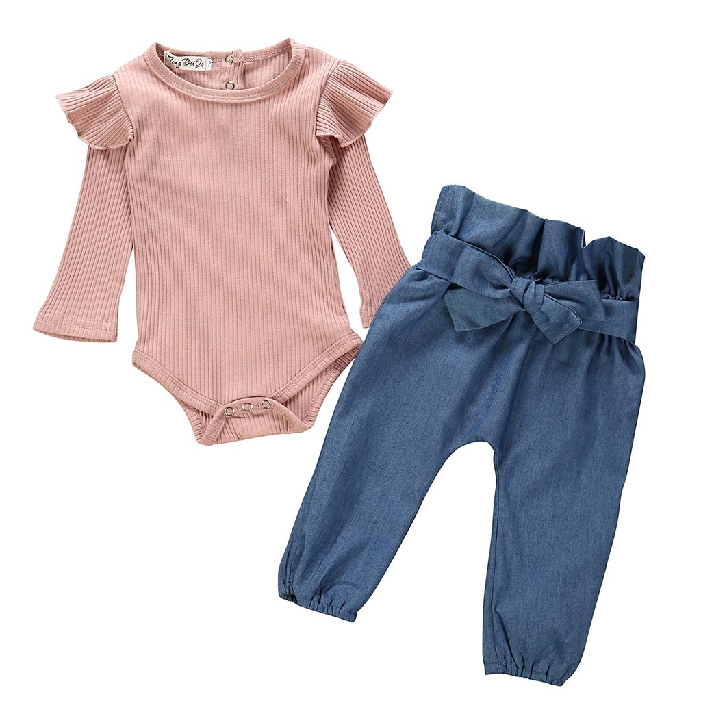 Autumn New Baby Girl Sets Clothes Outfit Solid Long Short Romper Bodysuit Denim Pants Jeans kit Top Dropshipping roupa infantil