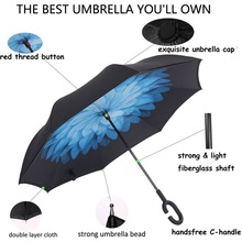 New 80CM Double Layer Self Support Umbrella Windproof Foldable Reverse Inverted Rain Protection Inside Out C-hook Car Handsfree